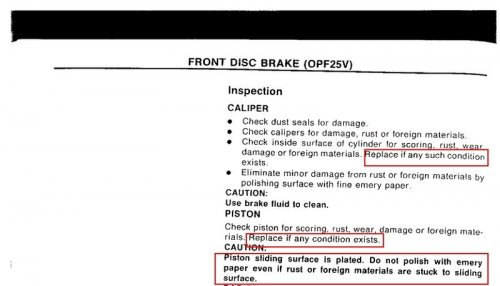 brake piston caution
